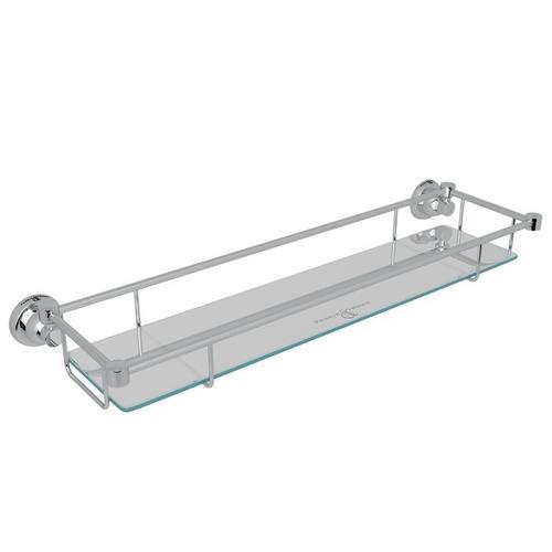Polished Chrome Perrin & Rowe Holborn Wall Mount Glass Vanity Shelf