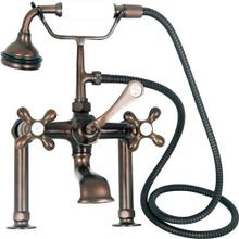 "Clawfoot Tub Filler - Elephant Spout, Hand Held Shower, 6"" Elbow Mounts - Cross Handles / Oil Rubbed Bronze"