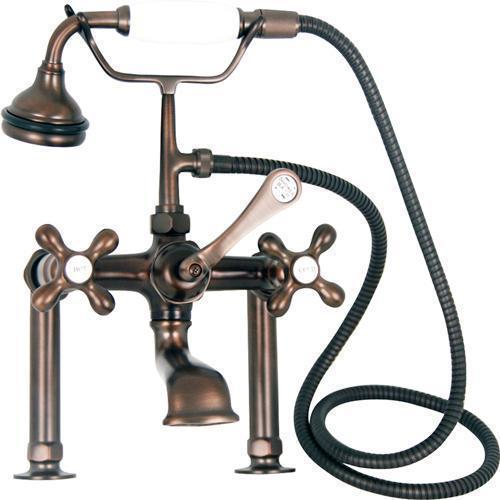"Clawfoot Tub Filler - Elephant Spout, Hand Held Shower, 6"" Elbow Mounts - Cross Handles / Oil Rubbed Bronze"