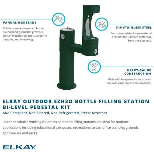 Elkay Outdoor ezH2O Bottle Filling Station Bi-Level Pedestal, Non-Filtered Non-Refrigerated Freeze Resistant Beige
