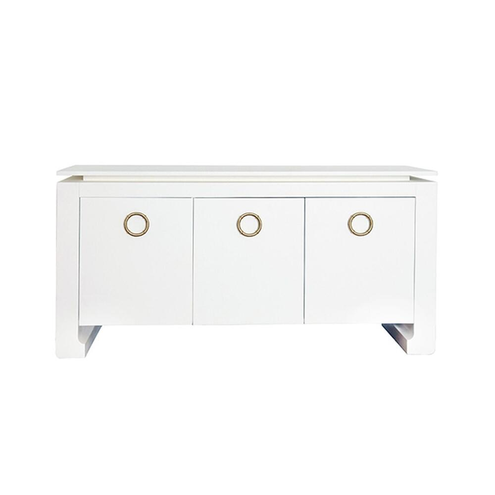 Three Door Buffet In Matte White Lacquer With Two Screw Antique Brass Hardware