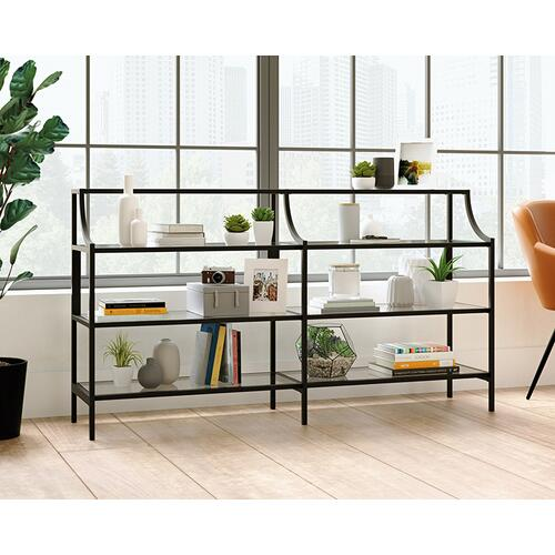 Black Glass-Top Console Table