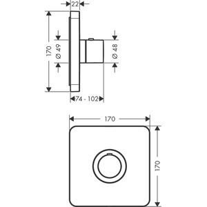 Chrome Thermostat HighFlow for concealed installation softcube