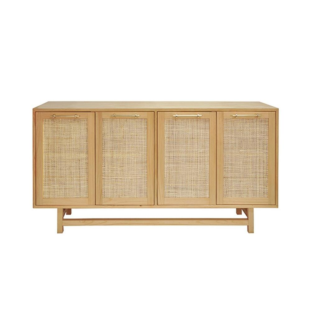 On Trend for Good Reason! Our Four Door Macon Cabinet Offers Beautiful and Neutral Storage for Your Mid Century, Farmhouse, or Scandinavian Inspired Interiors. Natural Cane Door Fronts Are Expertly Paired With A Finish Palette of Honey Finish Pine and Brass Hardware. an Extraordinary Accent Piece for Any Room.