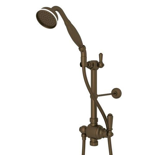 Riser Diverter Handshower Hose Parking Bracket and 8 Inch Thermostatic Outlet - English Bronze with Metal Lever Handle
