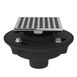 "Polished Chrome Cast Iron 2"" No Hub Drain Kit With 3143 Matrix Decorative Cover Product Image"