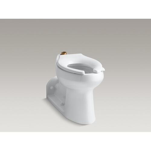 White Floor-mounted Top Spud Flushometer Bowl With Exposed Trapway