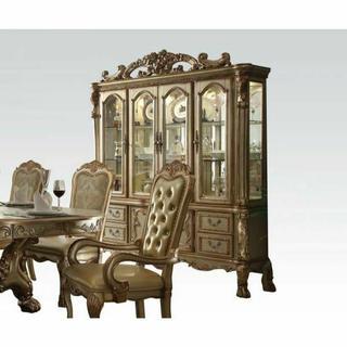 ACME Dresden Hutch & Buffet - 63155 - Gold Patina & Bone