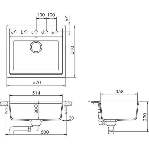 Polaris Built-in sink Mono N-100