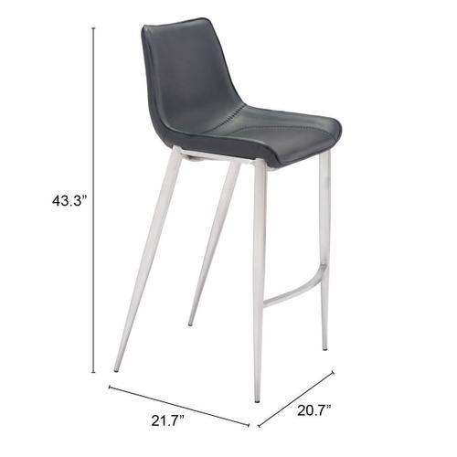 Zuo Modern - Magnus Bar Chair Black & Silver