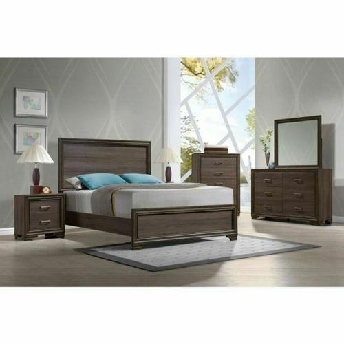 ACME Cyrille Eastern King Bed (Wooden HB) - 25837EK - Walnut
