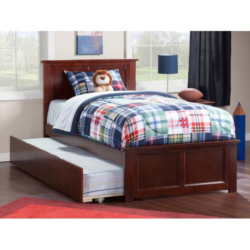 Madison Twin Bed with Matching Foot Board with Urban Trundle Bed in Walnut