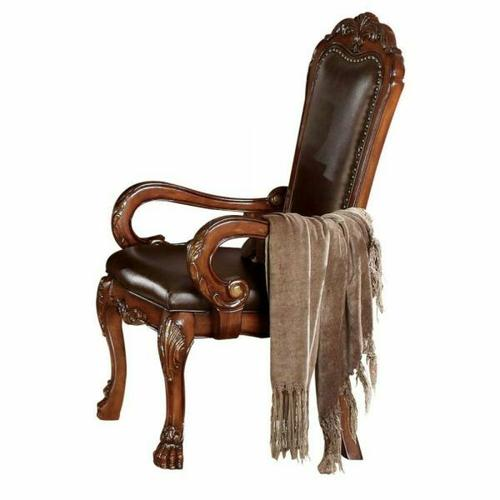 ACME Dresden Arm Chair (Set-2) - 12154 - PU & Cherry Oak