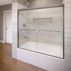 Euro Frameless Sliding Tub Shower Doors - Silver