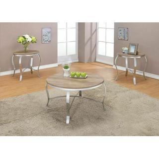ACME Malai 3Pc Pack Coffee/End Table Set - 81705 - Weathered Light Oak & Chrome