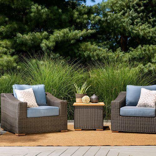 New Boston 3pc Wicker Patio Conversation Set w/ Blue Cushion