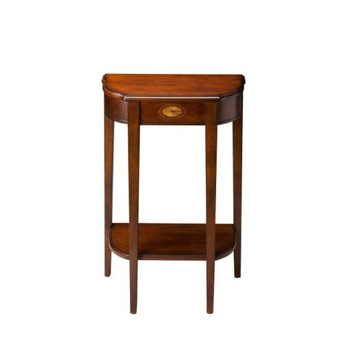 Butler Specialty Company - Selected solid woods, wood products and choice veneers. Cherry veneer top. Linen-fold inlay design of maple and walnut veneers on front apron. Lower display shelf.