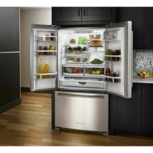 Gallery - 25 Cu. Ft. 36-Width Standard Depth French Door Refrigerator with Interior Dispense - Stainless Steel