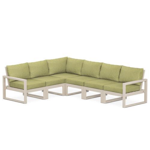 Polywood Furnishings - EDGE 6-Piece Modular Deep Seating Set in Sand / Chartreuse Boucle
