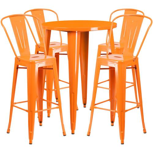 30'' Round Orange Metal Indoor-Outdoor Bar Table Set with 4 Cafe Stools