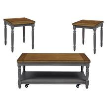 3 Pack (Cocktail Table \u0026 2 End Tables) - Oak/Brushed Gray Finish