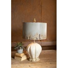 See Details - table lamp with painted wooden base & grey metal barrel shade
