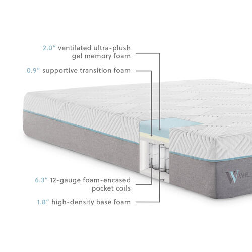 Wellsville 11 Inch Gel Memory Foam Hybrid Mattress Split Queen