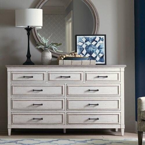 Bassett Furniture - Bella 9 Drawer Wood Top Dresser