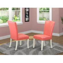 Alpine parson Chair with Linen White Finish Leg and PU Leather color 28-pink flamingo