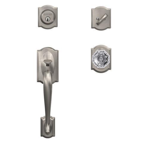 Custom Camelot Single Cylinder Handleset and Interior Alexandria Glass Knob with Camelot Trim - Satin Nickel