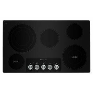 """KitchenAid36"""" Electric Cooktop with 5 Elements and Knob Controls - Stainless Steel"""