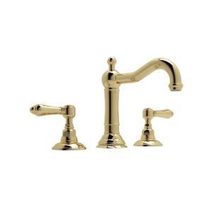 Unlacquered Brass Acqui Column Spout Widespread Lavatory Faucet with Metal Lever