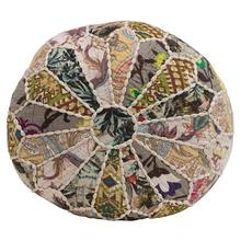 """Product Image - 16"""" Round x 8""""H Patchwork Printed Kantha Pouf, Multi Color"""