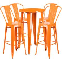 24'' Round Orange Metal Indoor-Outdoor Bar Table Set with 4 Cafe Stools