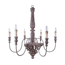 "40"" Round x 39-1/2""H Wood & Metal Chandelier"