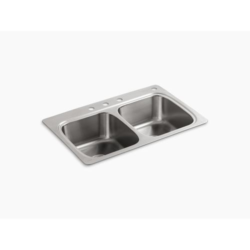 """33"""" X 22"""" X 9-1/4"""" Top-mount Double-equal Bowl Kitchen Sink With 4 Faucet Holes"""
