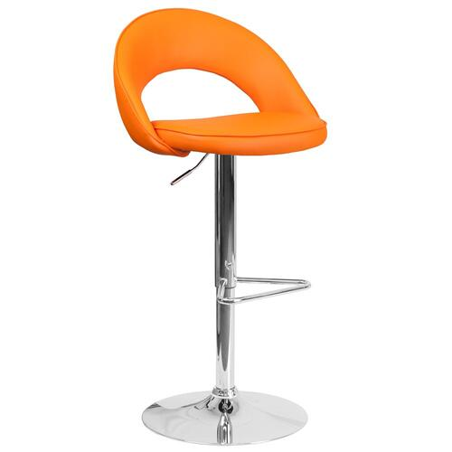 Contemporary Orange Vinyl Rounded Back Adjustable Height Barstool with Chrome Base