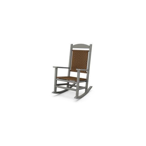 Polywood Furnishings - Presidential Woven Rocking Chair in Slate Grey / Tigerwood
