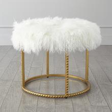 See Details - Stud Pouf-Gold Leaf-White Fur