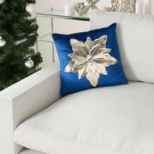 "Holiday Pillows L9966 Navy Gold 16"" X 16"" Throw Pillow"