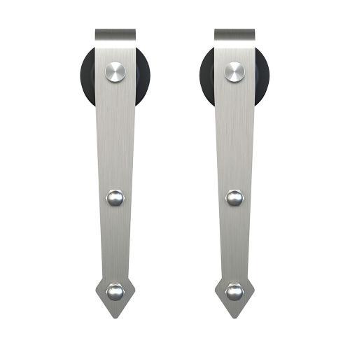 """Schlage - Sliding Barn Door Hardware - 6'6"""" Decorative Strap - Satin Nickel"""