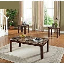 ACME Finely 3Pc Pack Coffee/End Table Set - 80319 - Light Brown Faux Marble & Cherry