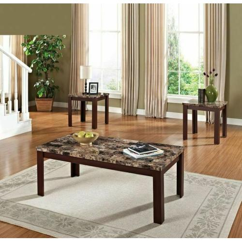 Acme Furniture Inc - ACME Finely 3Pc Pack Coffee/End Table Set - 80319 - Light Brown Faux Marble & Cherry