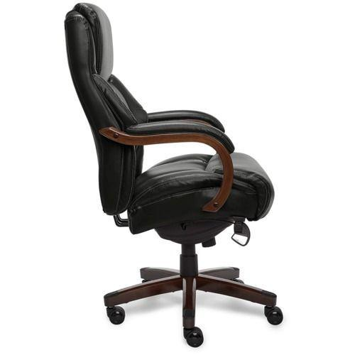 Gallery - Delano Big & Tall Executive Office Chair, Black with Mahogany Wood