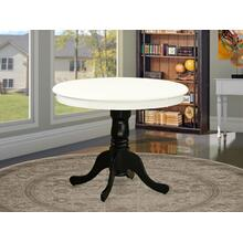 """Antique Table 36"""" Round in Linen White and Black Finish"""