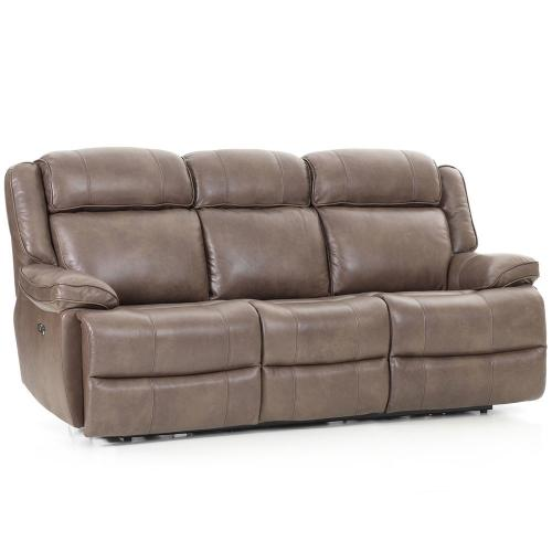 See Details - Avalon Dual Power Reclining Sofa  Leather Latte