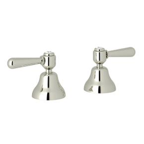 Verona Deck Mount Set of Hot and Cold 1/2 Inch Sidevalves - Polished Nickel with Metal Lever Handle