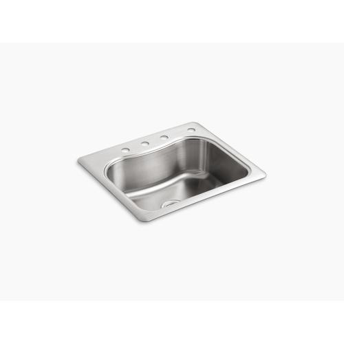 "25"" X 22"" X 8-5/16"" Top-mount Single-bowl Kitchen Sink With 4 Faucet Holes"