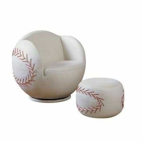 ACME All Star 2Pc Pack Chair & Ottoman - 05528 - Baseball: White