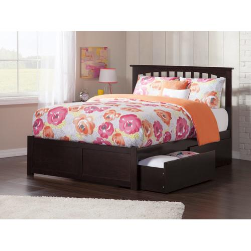 Atlantic Furniture - Mission Queen Flat Panel Foot Board with 2 Urban Bed Drawers Espresso